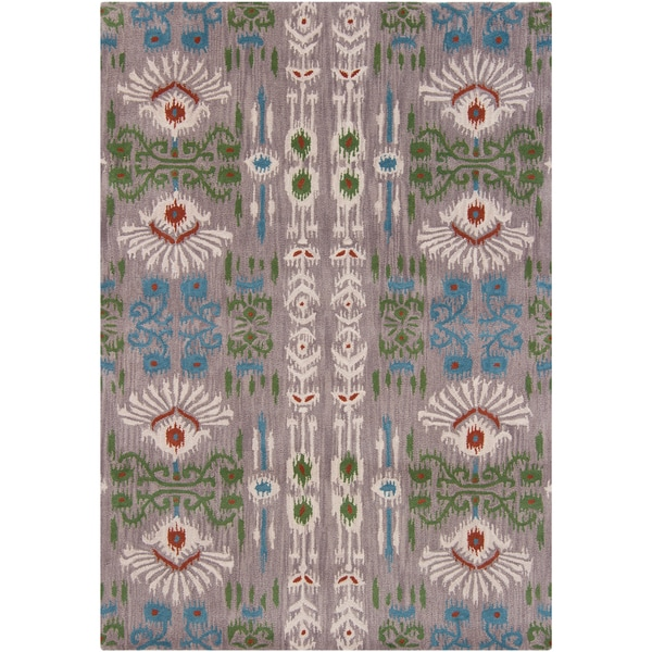 Mandara Gray-Background Hand-Tufted Abstract Wool Rug