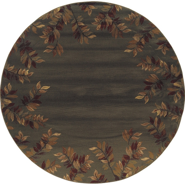 Indoor Blue-green/ Brown Transitional Area Rug (7'8 Round)