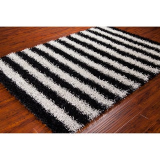 Mandara Hand-woven Black/ White Shag Rug