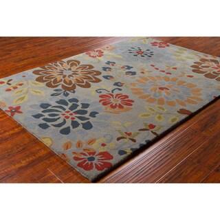 Mandara Hand-tufted Floral Grey Wool Rug