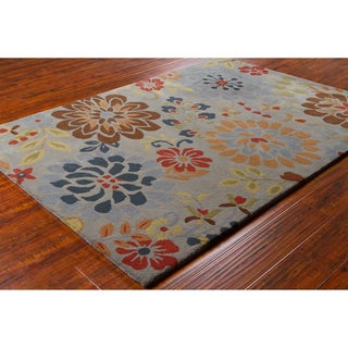 Mandara Hand-tufted Floral Grey Wool Rug