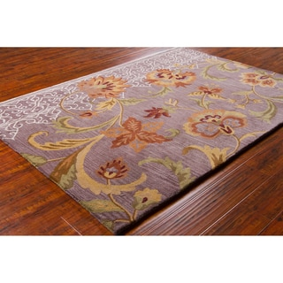 Mandara Hand-tufted Floral Purple Wool Rug