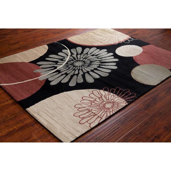 Mita Floral Black Rug