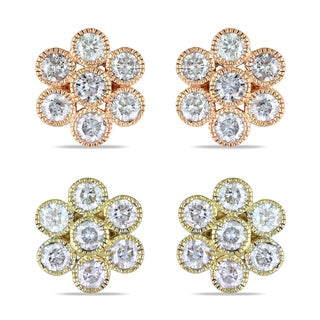 Miadora 14k Gold 1ct TDW Diamond Flower Earrings (G-H, I1-I2)