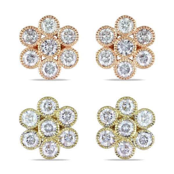 Miadora 14k Gold 1ct TDW Diamond Flower Earrings (G-H, I1-I2)