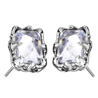 Stainless Steel Cubic Zirconia Rectangular Earrings