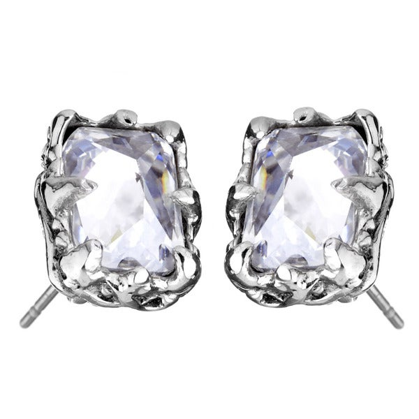 Stainless Steel Cubic Zirconia Rectangular Earrings