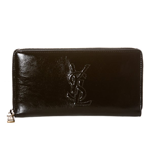 Yves Saint Laurent \u0026#39;Belle Du Jour\u0026#39; Black Patent Leather Wallet ...