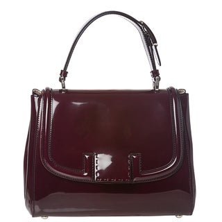 Fendi 'Silvana' Plum Patent Leather Satchel