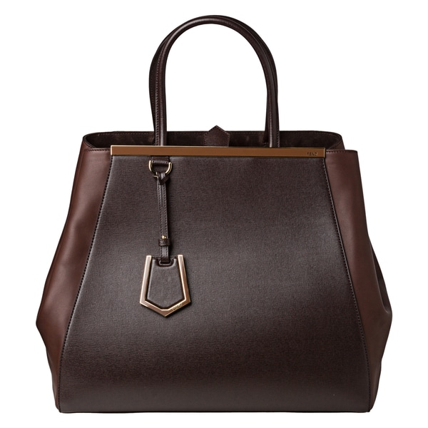 Fendi '2Jours' Large Brown Vitello/ Saffiano Leather Shopper Bag