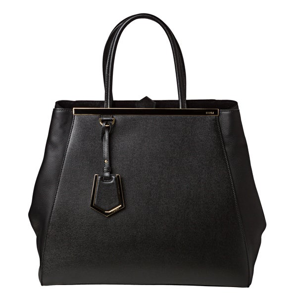 Fendi '2Jours' Large Black Vitello/ Saffiano Leather Shopper Bag