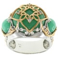 Michael Valitutti Two-tone Green Jade and White Sapphire Ring