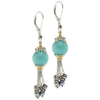 Michael Valitutti Two-tone Amazonite and Pearl Dangle Earrings