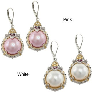 Michael Valitutti Two-tone Silver Mabe Pearl and Ruby Earrings