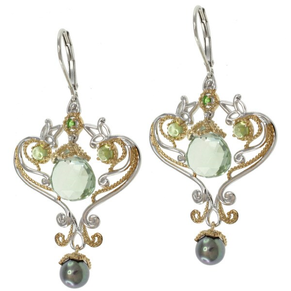 Michael Valitutti Two-tone Green Amethyst Earrings