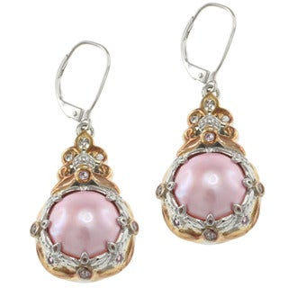 Michael Valitutti Two-tone Silver Mabe Pearl and Sapphire Earrings