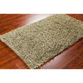 "Contemporary Mandara Handwoven Green Shag Rug (3'6"" x 5'6"")"