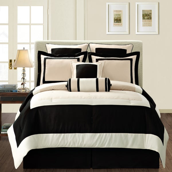 gramercy queen size 12 piece black bed in a bag with sheet set 14780935. Black Bedroom Furniture Sets. Home Design Ideas