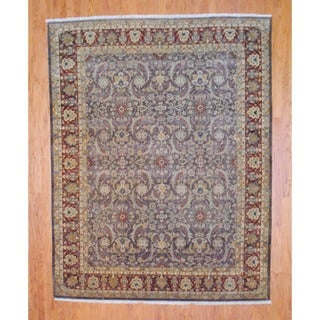 Indo Hand-knotted Brown/ Burgundy Vegetable Dye Wool Rug (8' x 10')