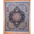 Indo Hand-knotted Dark Brown/ Beige Tabriz Wool Rug (8' x 10')