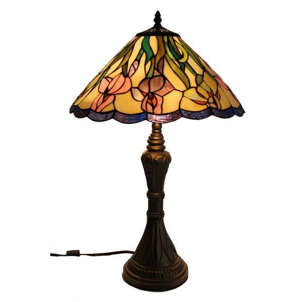Iris Handcrafted Stained Glass Tiffany Style Table Lamp