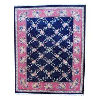 Herat Oriental Indo Hand-knotted Aubossan Navy/ Salmon Wool Rug (8' x 10')