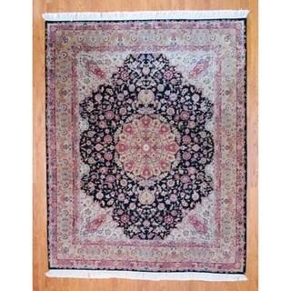 Sino Hand-knotted Black/ Gold Tabriz Wool/Silk Rug (8' x 10')
