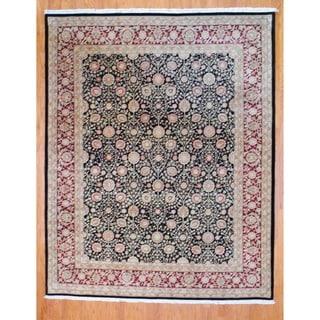 Sino Hand-knotted Black/ Burgundy Tabriz Wool/ Silk Rug (8' x 10')