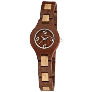 Vernier Women's Feminine Wood Link Bracelet Watch