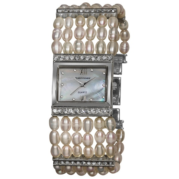 Vernier Women's Rectangular Silver Case Fresh Water Pearl Bracelet Watch