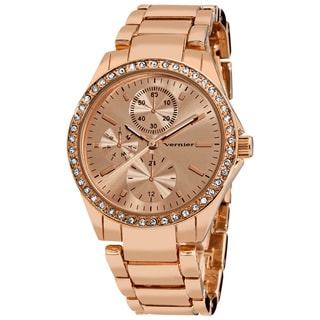 Vernier Women's Fashion Rose Side Chrono Look Crystal Bezel Bracelet Watch
