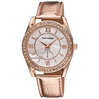 Vernier Women's Mother of Pearl Dial Metallic Strap Quartz Watch