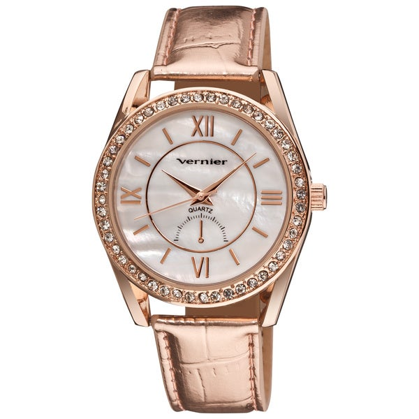 Vernier Women's Mother of Pearl Dial Metallic Strap Quartz Watch