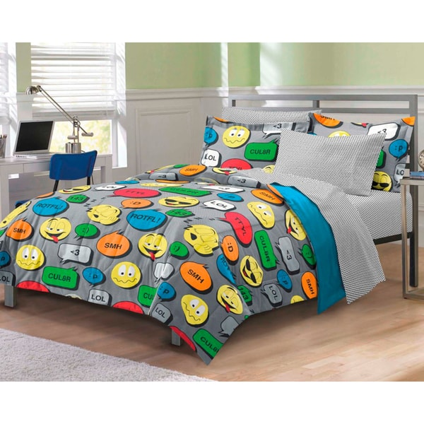 Emoticon 7-piece Bed in a Bag with Sheet Set