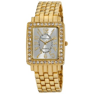 Vernier Women's Dazzling Rectangular Case Easy Read Gold-Tone Bracelet Watch