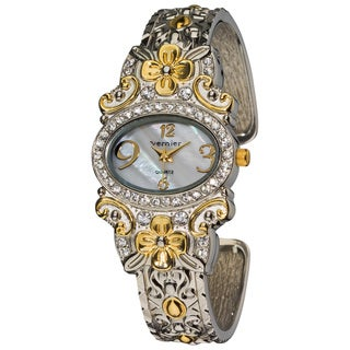 Vernier Women's Dazzling Two-Tone Flower Pattern Bangle Watch