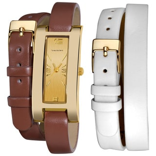 Vernier Women's Goldtone Interchangeable Double Wrap Leather Watch