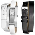 Vernier Women's Silvertone Interchangeable Double Wrap Leather Watch