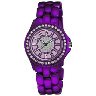 Vernier Women's Fashion Purple Soft-touch Dazzling Dial Bracelet Watch
