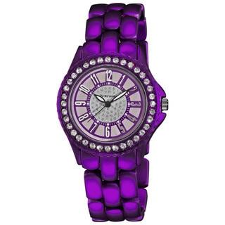 Vernier Women's Fashion Purple Soft-touch Dazzling Dial Bracelet Watch