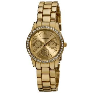 Vernier Women's Gold Feme-Fashion Faux Chrono Quartz Bracelet Watch