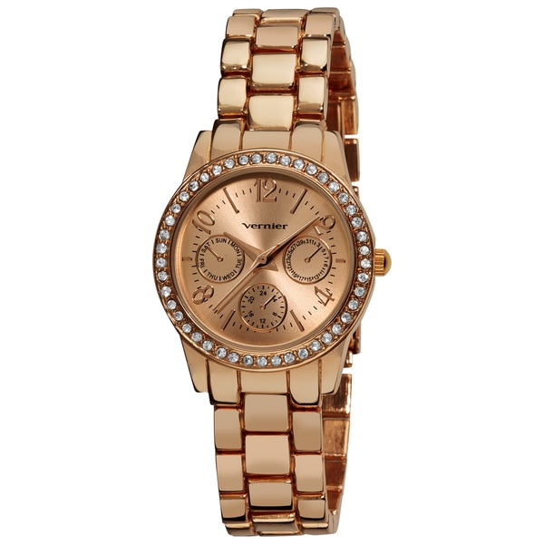 Vernier Women's Rose Feme-Fashion Faux Chrono Quartz Bracelet Watch