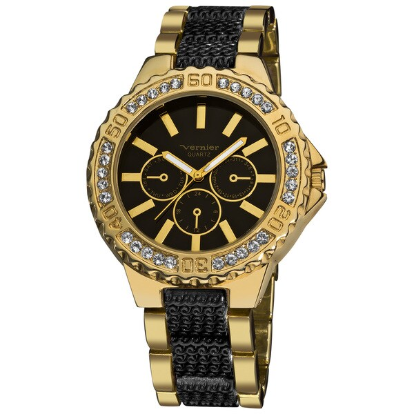 Vernier Women's Boyfriend Black/ Gold Quartz Bracelet Faux-Chrono Watch