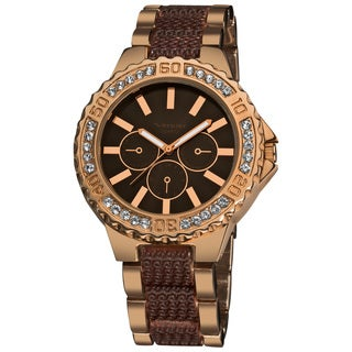 Vernier Women's Boyfriend Brown/ Rose Quartz Bracelet Faux-Chrono Watch