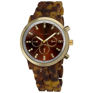 Vernier Women's Boyfriend Soft-touch Tortoise Faux-Chrono Watch