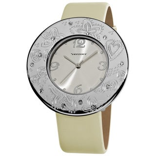 Vernier Women's Silvertone Etched Thin Round Bezel Strap Watch