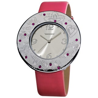 Vernier Ladies Silvertone Etched Thin Round Bezel Strap Watch