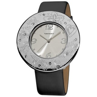 Vernier Women's Silvertone Etched Thin Round Bezel Water-resistant Strap Watch