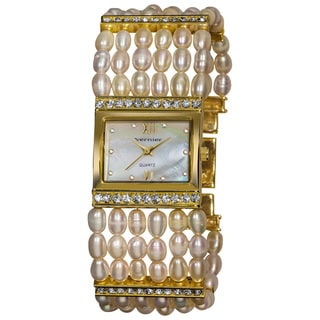 Vernier Women's Rectangular Gold Case Fresh Water Pearl Bracelet Watch