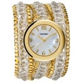 Vernier Women's Fashion Triple Wrap Bead and Chain Quartz Watch